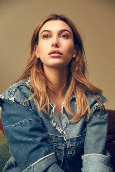 Hailey Baldwin models distressed denim jacket from Maryam Nassir Zadeh