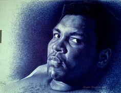I Artist Enam Bosokah from Ghana, uses a blue ballpoint pen to create impressive portraits and drawings