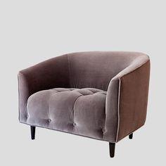 Greige velvet armchair