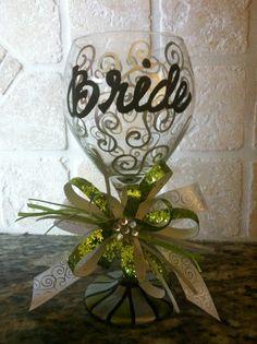 bride shower wine glass - Google Search