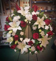 Sympathy wreath, roses, lilies, mini carnations