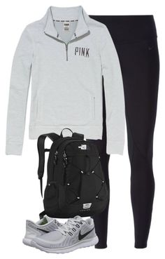 sweater pink by victorias secret grey backpack leggings nike.- sweater pink by victorias secret grey backpack leggings nike sneakers sweater pink by victorias secret grey backpack leggings nike sneakers - High School Outfits, Lazy Day Outfits, Casual Outfits, Summer Outfits, Cute Outfits, Simple College Outfits, School Shoes, Everyday Outfits, Looks Style