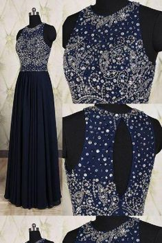 Long Navy Blue Chiffon Formal Dresses Featuring Beaded Bodice With Sheer Bateau Neckline -- Long Elegant Prom Dress, Sexy Beaded Evening Gown Wite Prom Dresses, Navy Blue Prom Dress Long, Pretty Prom Dresses, Unique Prom Dresses, Grad Dresses, Formal Dresses, Fabulous Dresses, Dance Dresses, Thranduil