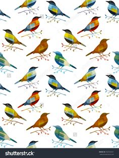 Seamless vector pattern of birds of different bright, saturated colors