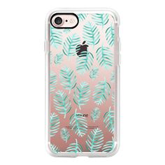 Modern Green Watercolor Tropical Palm Leaves trendy simple Pattern... (119.880 COP) ❤ liked on Polyvore featuring accessories, tech accessories, iphone case, pattern iphone case, iphone cover case, print iphone case, clear iphone cases and iphone cases