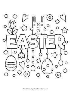 Free printable Easter Coloring Pages eBook for use in your classroom or home from PrimaryGames. Print and color this Easter coloring page. drawings bullet journal Easter Coloring Page Easter Coloring Pages Printable, Easter Coloring Sheets, Easter Colouring, Coloring Pages To Print, Coloring For Kids, Coloring Pages For Kids, Coloring Books, Easter Activities, Craft Activities
