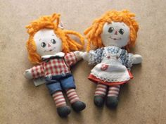Vintage-Knickerbocker-Raggedy-Ann-Raggedy-Andy-Orange-Yarn-Hair-Matching-Tags