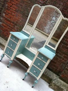 French Blue and White Painted Vanity with Mirror Vintage Cottage Chic