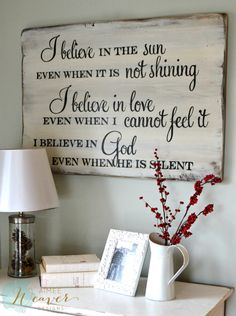35 ideas for barn wood signs faith I Believe In Love, Diy Signs, Sign Quotes, Qoutes, Quotations, Christian Quotes, Christian Signs, Christian Motivation, Christian Decor