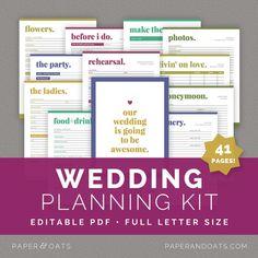 Wedding Planning Kit — Paper + Oats — editable, printable, planner, organizer, wedding to do list, wedding checklist, wedding budget, rehearsal planner, reception planner, ceremony planner, honeymoon planner, bride binder