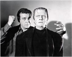 """Publicity shot for """"Frankenstein Meets the Wolf Man - Lon Chaney and Bela Lugosi"""