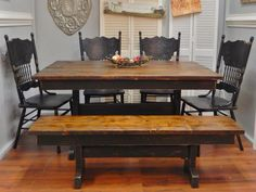 Charming handcrafted trestle farm table, black with stained top, matching farmho… – Hazir Site Dinning Table With Bench, Modern Dinning Table, Oak Dining Room Set, Round Table And Chairs, Black Dining Room Chairs, Shabby Chic Table And Chairs, Table And Chair Sets, Rustic Table, Black Chairs