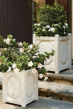 A traditional design on a grand scale, our graciously sized Chantal Planter offers ample planting space for topiaries or floral arrangements. Crafted from crushed stone and resin to give the appearance of handcarved, whitewashed stone. Trough Planters, White Planters, Outdoor Planters, Outdoor Decor, Outdoor Spaces, Indoor Outdoor, Outdoor Furniture, Outdoor Ideas, Garden Urns