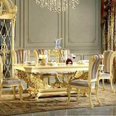Custom Luxury Dining Table And 8 Chairs 0109 Gold Furniture, Colorful Furniture, Furniture Styles, Dining Room Furniture, Dining Room Table, Table And Chairs, Dining Chairs, Luxury Dining Tables, Dining Table Design