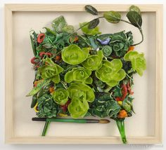 Polymer Clay- Vegetable Garden, glass and Silk Flowers