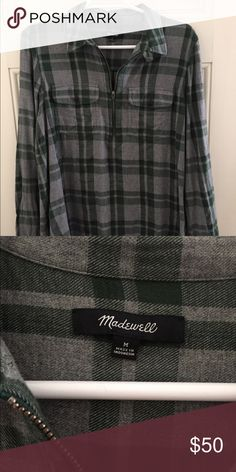 Madewell Flannel Worn once. New this season flannel from Madewell. Cozy and comfortable 100% cotton and machine washable. Grey and green color is perfect to match with jeans or leggings! Madewell Tops