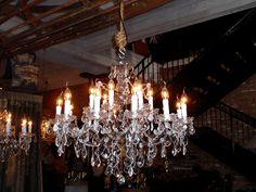 vintage industrial crystal chandelier