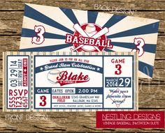 Vintage Baseball Ticket Invitation Suite // DIY by NestlingDesigns, $15.00
