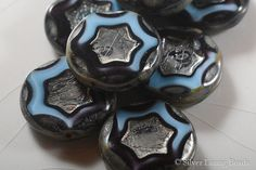Outer Orbit 4  Czech Glass Bead : Carved Coin by SilverLiningBeads