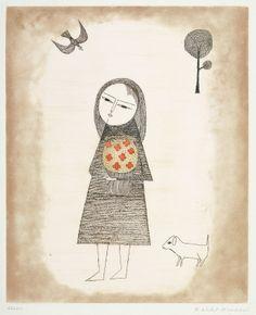 南桂子 / 子供と花束と犬 Keiko Minami