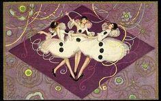 CHIOSTRI Art Deco Postcard PIERRETTE Ladies Dancing Pierrot Carnival Masquerade