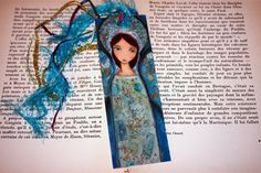 Angel Azul Laminated Bookmark Handmade Original by FlorLarios