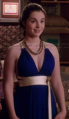 Bay's blue (original) prom dress on Switched at Birth.  Outfit Details: http://wornontv.net/36093/ #SwitchedatBirth