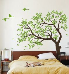 Tree wall decal Vinyl Tree wall decal tree birds by NatureHomeArts