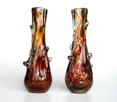 Pair of Blown Art Glass Vases / Bud Vase / by TheCuriousCaseShop,