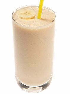 Blend a banana, 1 tbsp of soynut butter, 10 oz of skim milk and 6 ice cubes for a healthy breakfast you can easily take with you.