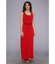 Smooth and stretchy, sleeveless, jersey maxi dress accentuates your natural form. . Tank-style max...