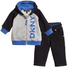 DKNY Baby Boys Grey & Black Tracksuit at Childrensalon.com