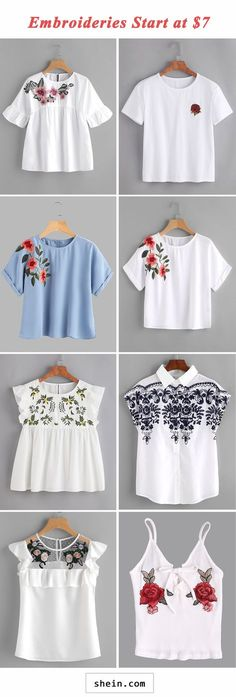 embroideries start at 7 Diy Fashion, Teen Fashion, Fashion Outfits, Womens Fashion, Casual Outfits, Cute Outfits, Sewing Shirts, Look Girl, Embroidery Dress