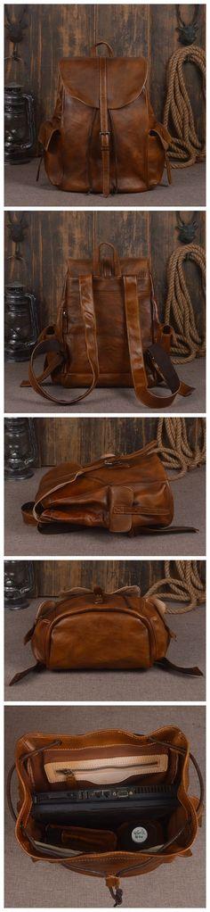 Vintage Handmade Genuine Leather Backpack Hiking Rucksack Travel Backpack School Backpack in Brown 14140