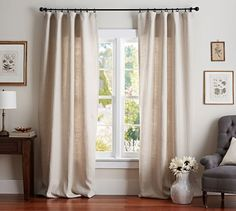 "Belgian Flax Linen Drape | Pottery Barn  - Unlined - 50""w x 108""l - Natural - $203 special (less 20% is $162.40)"