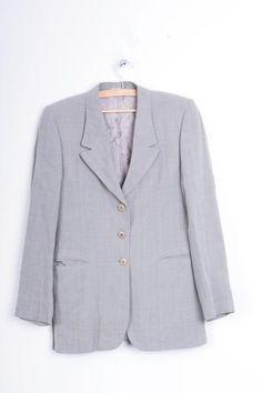 Burberrys Womens 12 L Jacket Blazer Grey Vintage 90s - RetrospectClothes