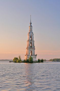 Travel Inspiration for Russia - St. Nicholas belltower, part of the flooded church in Kalyazin, Russia