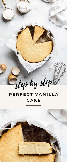 Step by step instructions on how to make the best vanilla cake ever. This homemade vanilla cake recipe is anything but ordinary: moist, tender, flavorful and the perfect base for any recipe. No Bake Desserts, Easy Desserts, Dessert Recipes, Cupcake Recipes, Yummy Recipes, Homemade Vanilla Cake, Cupcake Cakes, Cupcakes, Fondant Cakes