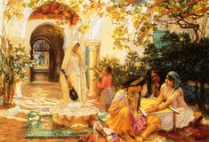 L'orientaliste de l'école américaine Frederick Arthur Bridgman : peintre voyageur  dans Art Frederick+Arthur+Bridgman+-+Courtyard,+El+Biar