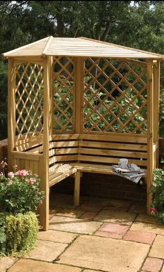 garden seating Small Gazebo Like Corner Garden Arbor Seat
