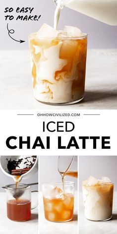 This iced chai latte from Oh, How Civilized is perfect for enjoying the perfect cup of chai tea everytime. This delicious iced chai is perfectly spiced, creamy and sweet. Grab this easy recipe for a decadent iced chai latte and give this delicious chai tea drink a try today. #chai #chailatte #tealatte #teatime Iced Chai Tea Latte, Chai Recipe, Cooking Dishes, Non Alcoholic Drinks, Refreshing Drinks, Coffee Recipes, Tasty Dishes, Baking Recipes, Treats