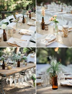 so lovely – the color scheme, the glass bottles, the mason jars full of popcorn, the florals, great low cost decor