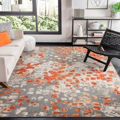 Well Woven Rosa Gold/Gray Rug   Wayfair Orange Area Rug, Orange Rugs, Blue Area Rugs, Watercolor Rug, Pacific Homes, Transitional Rugs, Gold Rug, Fashion Room, Outdoor Area Rugs