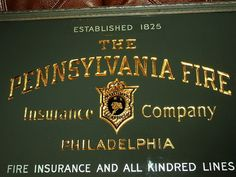 Antique Reverse Paint-Glass W/Gold metal PENNSYLVANIA FIRE INSURANCE framed Sign | ebay