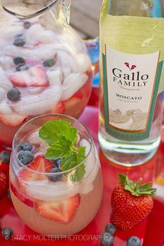 Berry Moscato Sangria Recipe Ingredients: 1 (750 ml) bottle Gallo Family Vineyards Moscato wine 1/2 cup orange liqueur 1 cup sparkling water 1 1/2 cups fresh strawberries, thickly sliced 1 cup fresh raspberries 1 cup fresh blueberries 1 lemon, freshly squeezed fresh mint, for garnish ice