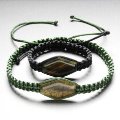 Green string necklace with Agate pendant, Black string bracelet with Agate