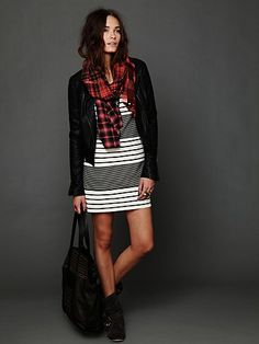 Striped shift + plaid scarf = Cali Fall Love