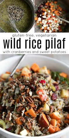 Cranberry Wild Rice Pilaf with Sweet Potatoes #wildrice #wildricepilaf #glutenfree #vegetarian sidedish #easyrecipe #rice #sweetpotatoes Wild Rice Pilaf, Vegetarian Recipes, Healthy Recipes, Thanksgiving Menu, Sweet Potato, Side Dishes, Clean Eating, Easy Meals, Potatoes