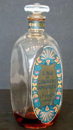 "Antique ""Eau de COLOGNE AMBREE"" by L.T. PIVER. Glass PERFUME BOTTLE & STOPPER / France 