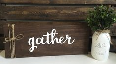 """Gather Sign, Entryway Sign, Rustic Signs, Rustic Wood Sign, Fall Home Decor, 19""""…"""